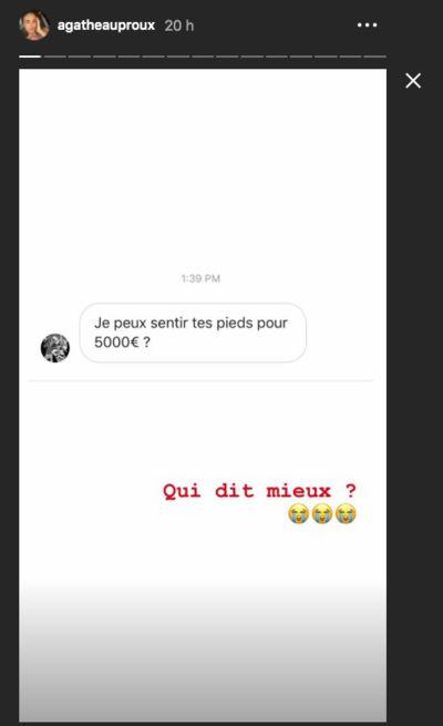 Agathe Auproux : un de ses abonnés lui propose 5000€ pour sentir ses pieds
