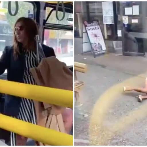 Une femme sans masque lui crache dessus dans le bus, il l'éjecte sur le trottoir